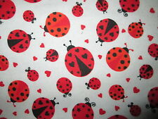 LADY BUG LADYBUGS RED WHITE FLANNEL FABRIC FQ