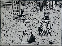 Arnold Fiedler, Tusche-Zeichnung 1976, signiert, Carneval in Rio/ Sezession