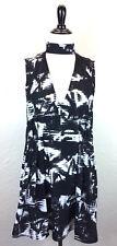 #S27 NWT Dolce Vita Sz M Black White Ikat Dakota Shift Dress Choker Pockets