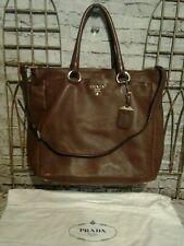 PRADA Large Pebble Brown Leather Shopper Tote Bag Convertible - Gold Detail