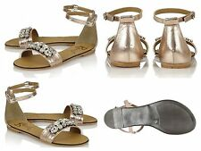 Women's Shoes RAVEL-Tulsa-Rose Gold Genuine Leather Jewelled Ankle Strap 3-4-7-8