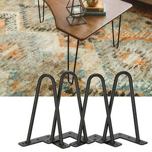 New 4x Hairpin Legs / Hair Pin Legs Set for Furniture Bench Desk Table Seat UK