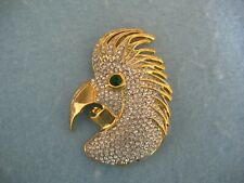 Pin With Clear Crystals Gold Toned Parrot Brooch Or