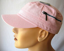 NWT Womens Zip Pocket cadet cap hat pink 100% cotton adjustable military castro