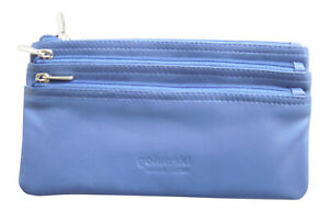 Golunski Leather Coin Purse in 3 Sections Soft Large Zipped in Block Colours