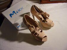 New Mixx Shuz Platform Stilletto Size 9 Nude Monica Bow T-Strap Pump Shoes Box