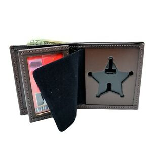 Perfect Fit Florida Sheriff Badge Wallet Brown Leather 5 Point Star Police