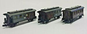 3x Fleischmann piccolo Personenwagen Gotha 2522 2532 2361 braun grau Spur N N#1