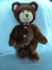 """Russ plush 15"""" teddy bear Cookie in gingerbread man costume peppermint buttons"""