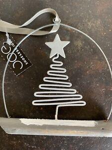Shoeless Joe Metal Christmas  Tree On A Log Hanging  Decoration