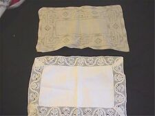 Antique Embroidered Lace Tray Cloths 2 Pcs Estate of Gutzon Borglum Mt Rushmore