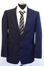 MS585 DARKS SIGNATURE STRIPED NAVY 100% WOOL MEN'S  2PC SUIT CHEST 40 W34  L31.5