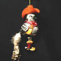 Christmas Bird Cowboy Jointed Legs Glass Ornament