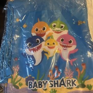 """12-Pack BABY Shark Drawstring Bags, Party REUSABLE Gift Bags for Kids 14"""" X 11"""""""