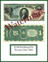 PHOTOSHOP DESIGNED REPRODUCTION Legal Tender $1.00 1869 FR18
