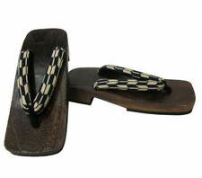 "Japanese Men's Wooden Geta Sandals 10.25"" Samurai Yukata Kimono Shoes Yabane"