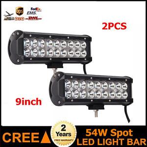 2X 54W 9'' Led Work Light Bar Spot Beam 12V 24V Chevrolet Ford Truck 108W 126W