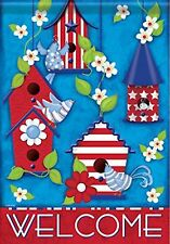 """Patriotic Birdhouses Welcome House Flag 28"""" x 40"""" Double Sided"""