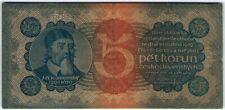 RARE! Czechoslovakia 5 Korun (Krona) 1921 🔸🔸 Banknote - k193
