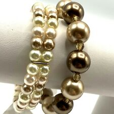 Faux Pearl Bracelets Lot of 2 Blush Beige Stretch Single Charter Club New