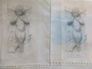 2 White Fingertip Guest Towel Angel Cherub Diane Hanson w Lace 100% Cotton NEW