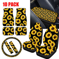Sunflower Car Seat Covers for Women Full Set of 10PC Combo with Floor Mats ect.