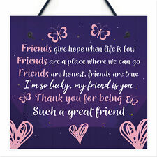 Friendship Keepsake Plaque Best Friend Gifts Thank You Birthday Gifts For Friend