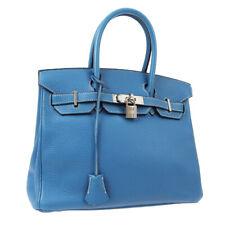 HERMES BIRKIN 30 Hand Bag □C 5C Blue Jean Veau Crispe Togo Vintage JT09262