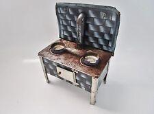 ancienne cuisinière-fourneau-jouet en métal émaillé bleu-cooker toy-vintage
