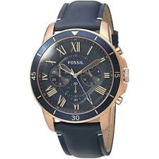 Fossil FS5237 Quartz Leather Analog Men Wristwatch - Blue
