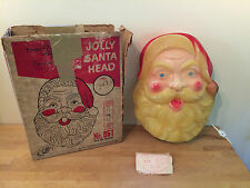 Vintage Christmas Illuminated JOLLY SANTA HEAD Wall Light by BECO w/ Box - Works