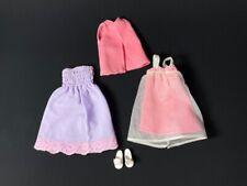 "Pink mauve 1970s nylon lace set + Pedigree Sindy white sandals fit 12"" doll"