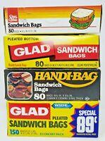 Lot of Vintage 80's 90's New Old Stock Sandwich Bags Glad Handi-Bag Shur Fine