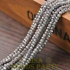 New 100pcs 4X3mm Crystal Glass Rondelle Faceted Loose Beads Opaque Gray&Silver