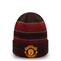 MANCHESTER UNITED RED & BLACK NEW ERA KNIT CUFF BEANIE OFFICIALLY LICENSED
