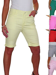 Plus Size Ladies Jeans Style Shorts Chino Sheen Above Knee Length Summer 14-24