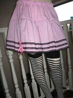 New Adult  White Baby Pink check tutu skater Skirt Lolita Rock Party Festival