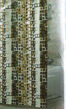 Rideau de Douche en Tissu Marron Carreaux 180x200 Incl. Anneaux ! Salle Bain
