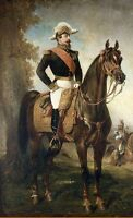Art oil painting Alfred Dedreux - Emperor Portrait Napoleon III on horse in view