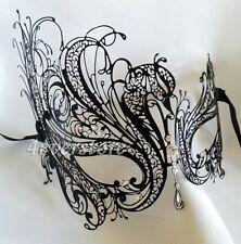 Black Swan Laser Cut Metal Womens Mardi Gras Venetian Masquerade Mask