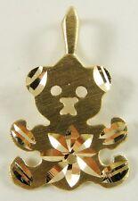 "14K Yellow Gold Teddy Bear Charm Pendant Matte Finish Sparkle Cut Flat 1/2"""