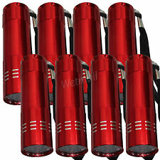 LOT OF 8 RED MINI POCKET 9-LED FLASHLIGHT Superbright Torch CAMPING Emergency
