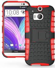 Red Heavy Duty Strong Tradesman TPU Hard Case Cover Stand for HTC One M8