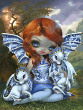 Jasmine Becket-Griffith art print SIGNED Blue Willow Dragonlings porcelain fairy