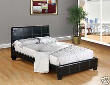 BLACK Faux Leather QUEEN Size Platform Bed Frame & Slats Modern Home Bedroom NEW