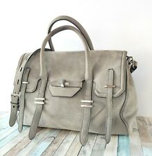 REBECCA MINKOFF GRAY GENUINE LEATHER TWO WAYS SATCHEL SHOULDER BAG HANDBAG PURSE
