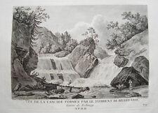 Jaun Bellegarde Wasserfall  Freiburg Schweiz  Kupferstich Zurlauben 1780 selten1