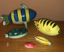 Russian Matryoshka Russian nestling dolls / fish folk art vintage set of 5 fish