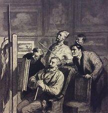 Honoré DAUMIER  les amateurs d'art gravé par Ramus 1880 Superbe