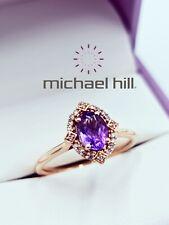 MICHAEL HILL 10ct Rose Gold Ring Amethyst Diamond Size O - 7.5 MHJ 10K